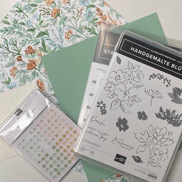 Handgemalte Blüten - Fun Fold Card